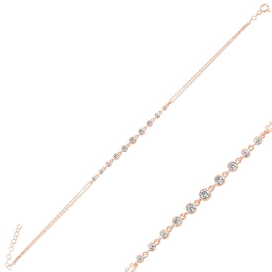 Ürün resmi: Rose Kaplama Zirkon Taşlı Suyolu Gümüş Bayan Bileklik