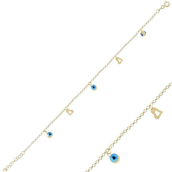 Ürün resmi: Altın Kaplama Sallantılı Göz & Kalp Gümüş Bayan Bileklik