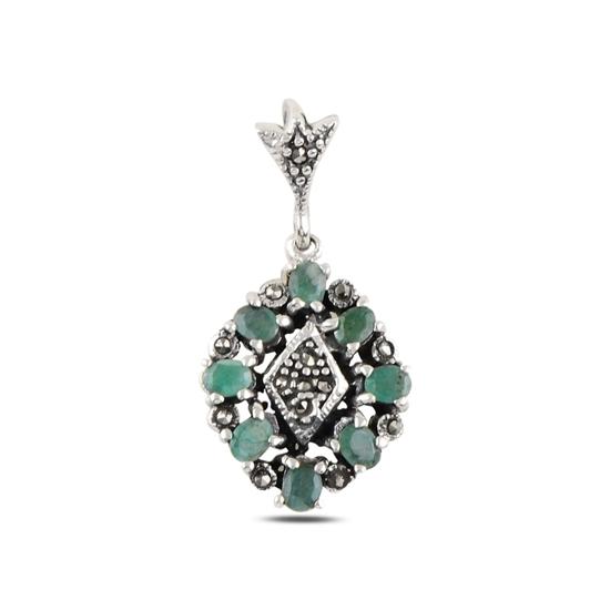 Ürün resmi: Zümrüt & Markazit Taşlı Gümüş Bayan Kolye Ucu