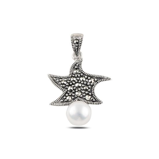 Ürün resmi: Yıldız İnci & Markazit Taşlı Gümüş Bayan Kolye Ucu