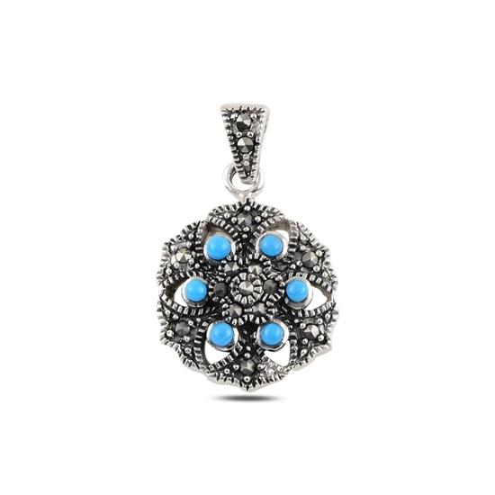 Ürün resmi: Turkuaz & Markazit Taşlı Gümüş Bayan Kolye Ucu