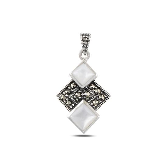 Ürün resmi: Sedef & Markazit Taşlı Gümüş Bayan Kolye Ucu