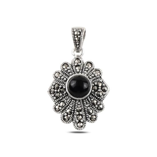 Ürün resmi: Oniks & Markazit Taşlı Gümüş Bayan Kolye Ucu