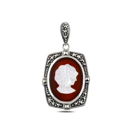 Ürün resmi: Cameo Sedef & Markazit Taşlı Gümüş Bayan Kolye Ucu