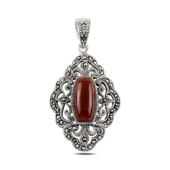 Ürün resmi: Kırmızı Akik & Markazit Taşlı Gümüş Bayan Kolye Ucu