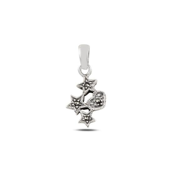Ürün resmi: Yıldız & Kalp Markazit Taşlı Gümüş Bayan Kolye Ucu