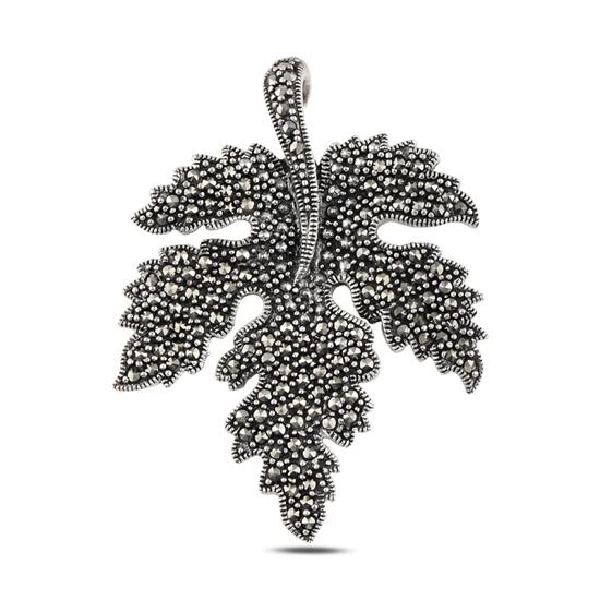 Ürün resmi: Çınar Yaprağı Markazit Taşlı Gümüş Bayan Kolye Ucu