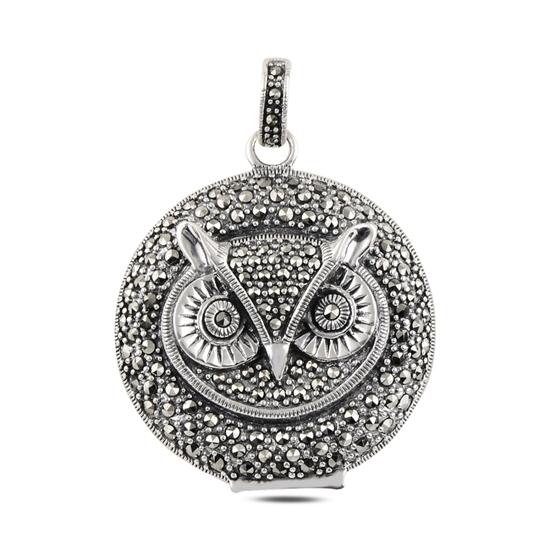 Ürün resmi: Baykuş Markazit Taşlı Gümüş Bayan Kolye Ucu