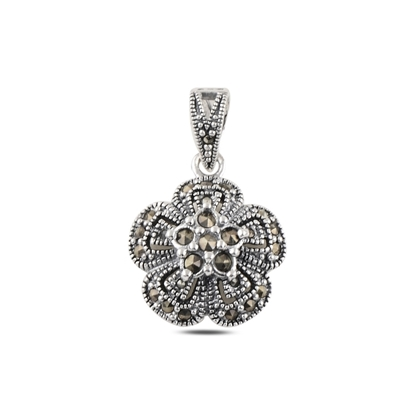 Resim Çiçek Markazit Taşlı Gümüş Bayan Kolye Ucu