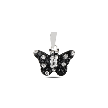 Resim Kelebek Kristal Taşlı Gümüş Bayan Kolye Ucu