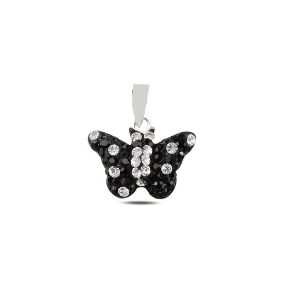 Ürün resmi: Kelebek Kristal Taşlı Gümüş Bayan Kolye Ucu