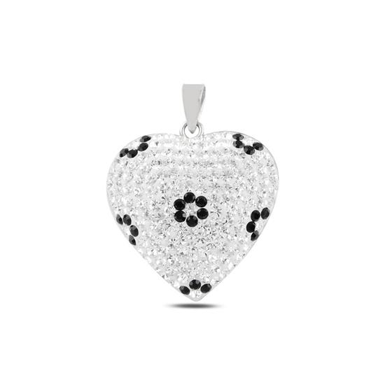 Ürün resmi: Kalp Kristal Taşlı Gümüş Bayan Kolye Ucu