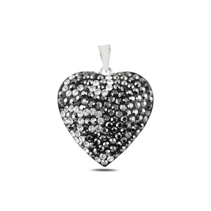 Resim Kalp Kristal Taşlı Gümüş Bayan Kolye Ucu