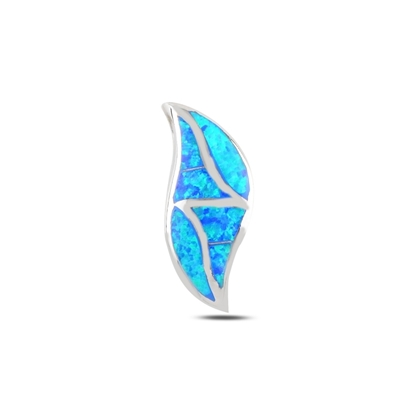 Resim Rodyum Kaplama Opal Taşlı Gümüş Bayan Kolye Ucu