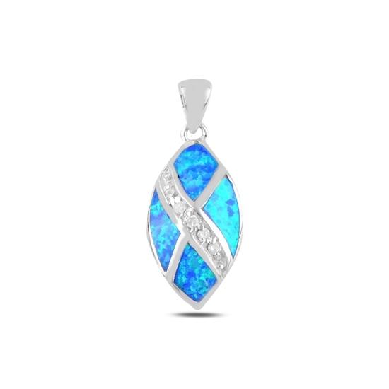 Ürün resmi: Rodyum Kaplama Opal & Zirkon Taşlı Gümüş Bayan Kolye Ucu