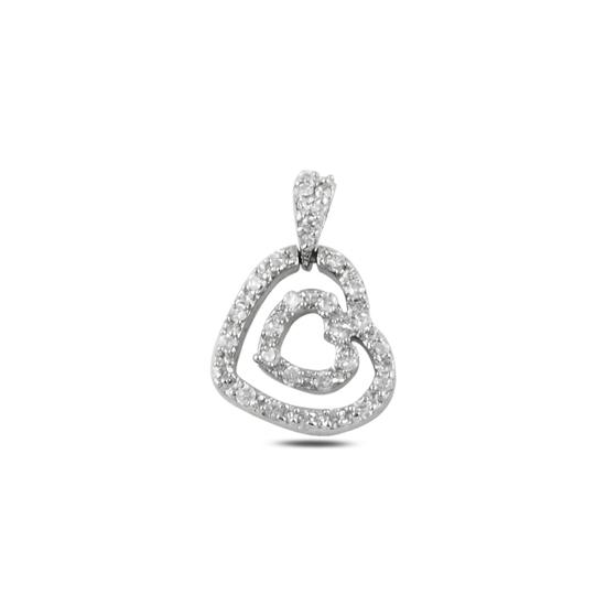 Ürün resmi: Rodyum Kaplama Kalp Zirkon Taşlı Gümüş Bayan Kolye Ucu