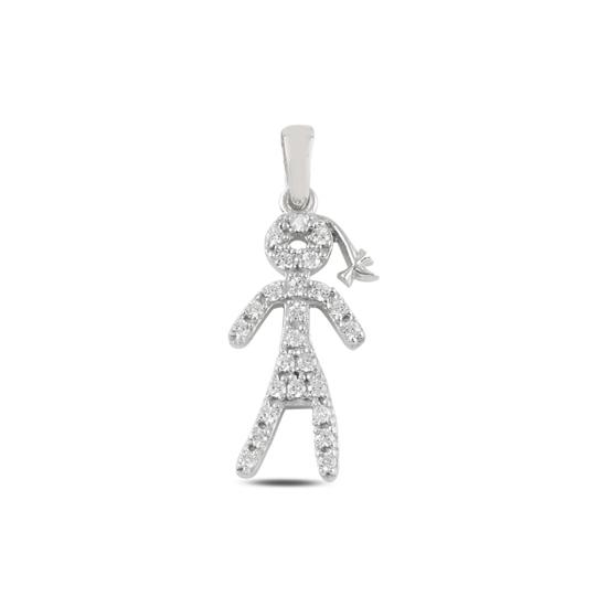 Ürün resmi: Rodyum Kaplama Çöp Adam Zirkon Taşlı Gümüş Bayan Kolye Ucu