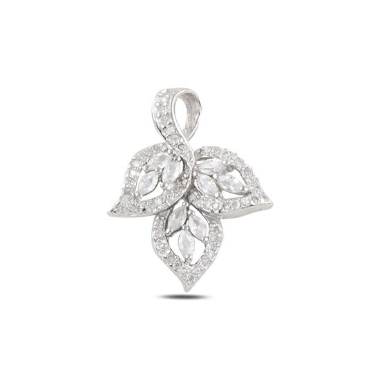 Ürün resmi: Rodyum Kaplama Çınar Yaprağı Zirkon Taşlı Gümüş Bayan Kolye Ucu