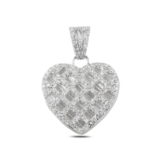 Ürün resmi: Rodyum Kaplama Kalp Baget Zirkon Taşlı Gümüş Bayan Kolye Ucu