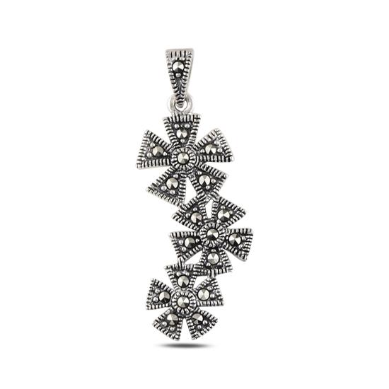Ürün resmi: Çiçek Markazit Taşlı Gümüş Bayan Kolye Ucu