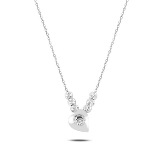 Ürün resmi: Rodyum Kaplama Kalp & Dorica Toplu Zirkon Taşlı Gümüş Bayan Kolye