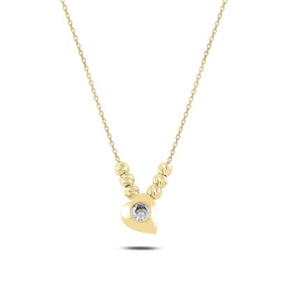 Resim Altın Kaplama Kalp & Dorica Toplu Zirkon Taşlı Gümüş Bayan Kolye