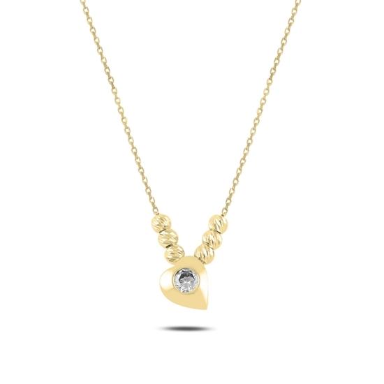 Ürün resmi: Altın Kaplama Kalp & Dorica Toplu Zirkon Taşlı Gümüş Bayan Kolye