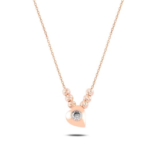 Ürün resmi: Rose Kaplama Kalp & Dorica Toplu Zirkon Taşlı Gümüş Bayan Kolye