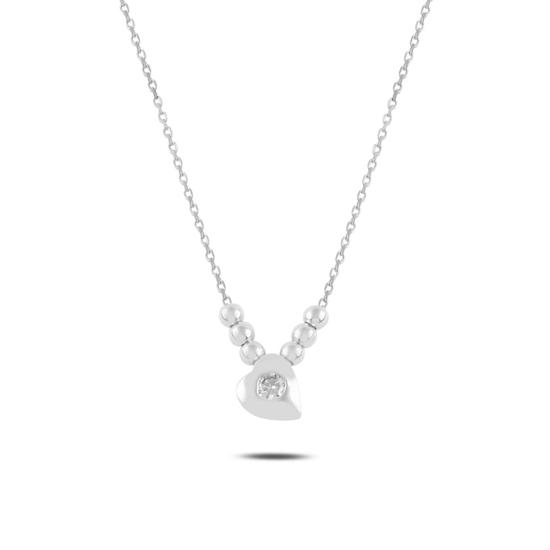 Ürün resmi: Rodyum Kaplama Kalp & Toplu Zirkon Taşlı Gümüş Bayan Kolye