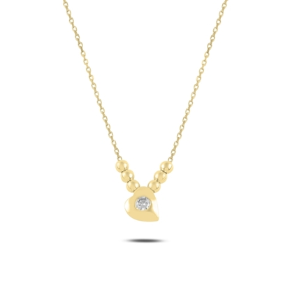 Resim Altın Kaplama Kalp & Toplu Zirkon Taşlı Gümüş Bayan Kolye
