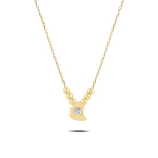 Ürün resmi: Altın Kaplama Kalp & Toplu Zirkon Taşlı Gümüş Bayan Kolye