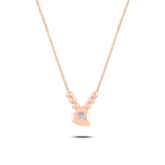 Ürün resmi: Rose Kaplama Kalp & Toplu Zirkon Taşlı Gümüş Bayan Kolye