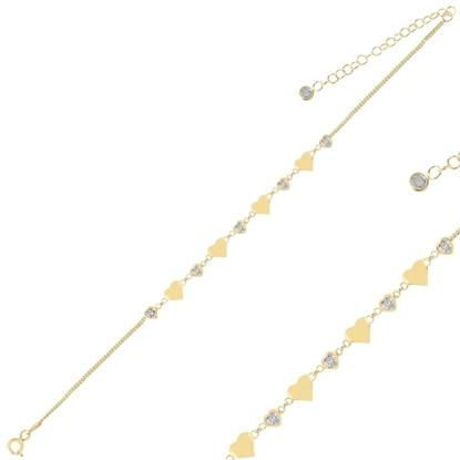 Resim Altın Kaplama Kalp Zirkon Taşlı Gümüş Bayan Bileklik