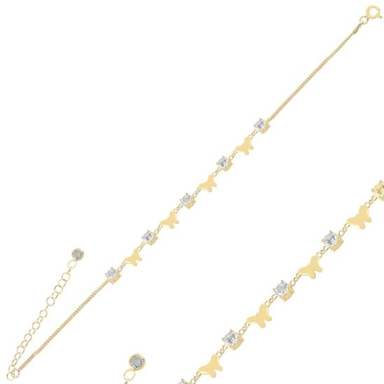 Ürün resmi: Altın Kaplama Kelebek Zirkon Taşlı Gümüş Bayan Bileklik