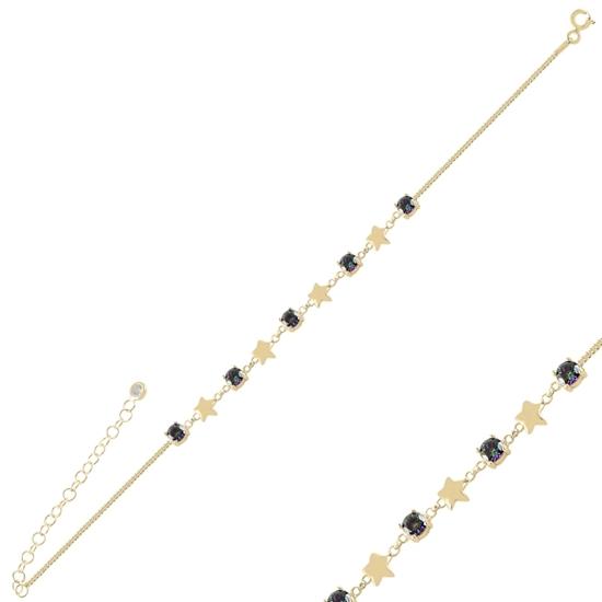 Ürün resmi: Altın Kaplama Yıldız Mistik Topaz Zirkon Taşlı Gümüş Bayan Bileklik