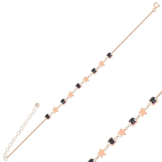 Ürün resmi: Rose Kaplama Yıldız Mistik Topaz Zirkon Taşlı Gümüş Bayan Bileklik