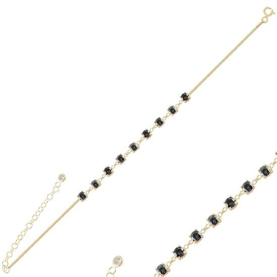 Ürün resmi: Altın Kaplama Mistik Topaz Zirkon Taşlı Gümüş Bayan Bileklik