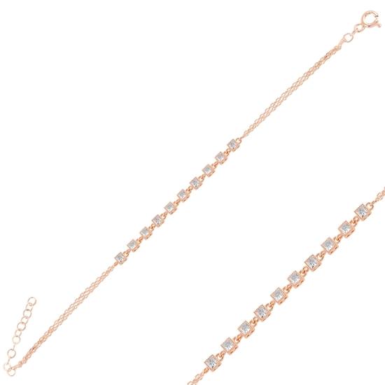 Ürün resmi: Rose Kaplama Zirkon Taşlı Gümüş Bayan Bileklik
