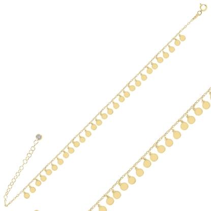 Resim Altın Kaplama Sallantılı Pullu Gümüş Bayan Bileklik