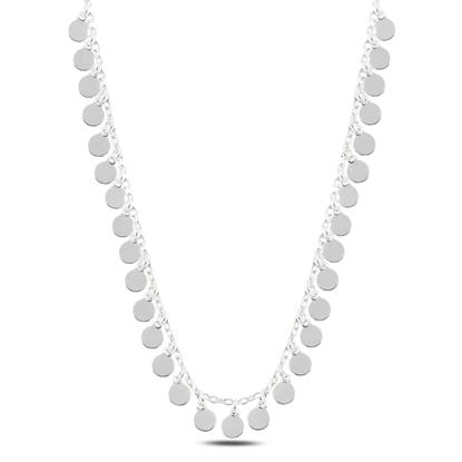 Resim Rodyum Kaplama Sallantılı Pullu Gümüş Bayan Kolye