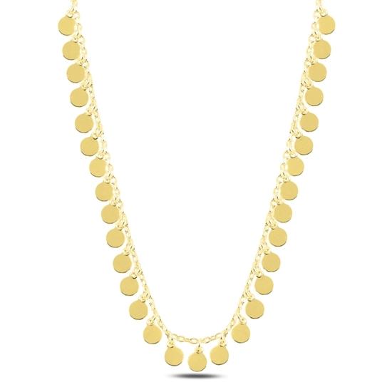 Ürün resmi: Altın Kaplama Sallantılı Pullu Gümüş Bayan Kolye