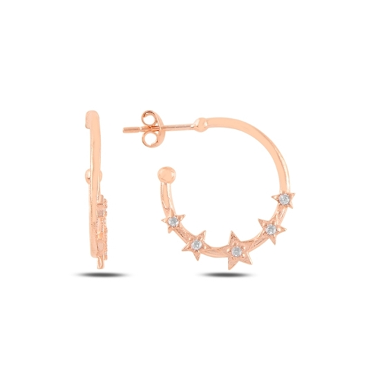 Ürün resmi: Rose Kaplama Yıldız Zirkon Taşlı Gümüş Küpe
