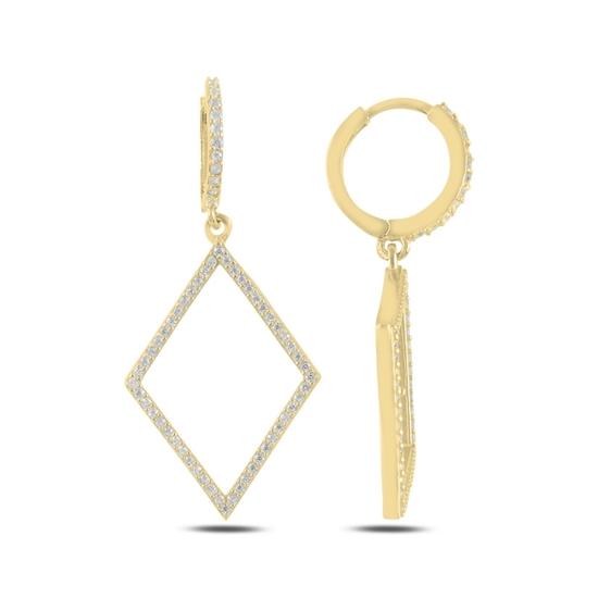 Ürün resmi: Altın Kaplama Baklava Şekli Zirkon Taşlı Gümüş Sallantılı Küpe