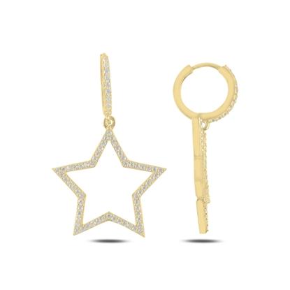 Resim Altın Kaplama Yıldız Zirkon Taşlı Gümüş Sallantılı Küpe