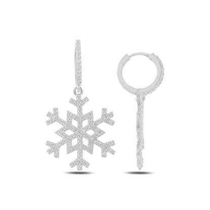 Resim Rodyum Kaplama Kar Tanesi Zirkon Taşlı Gümüş Sallantılı Küpe