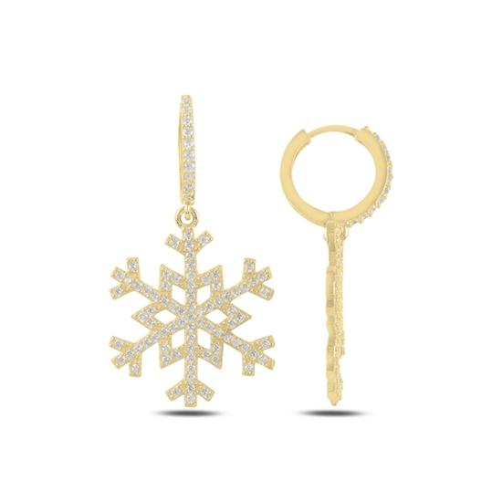 Ürün resmi: Altın Kaplama Kar Tanesi Zirkon Taşlı Gümüş Sallantılı Küpe