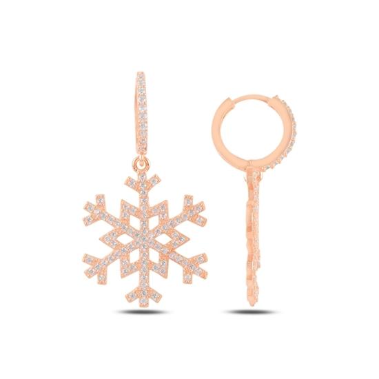 Ürün resmi: Rose Kaplama Kar Tanesi Zirkon Taşlı Gümüş Sallantılı Küpe