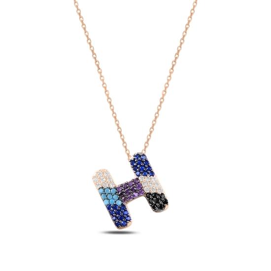 Ürün resmi: Rose Kaplama -H- Harfi Renkli Zirkon Taşlı Gümüş Bayan Hayalet Kolye