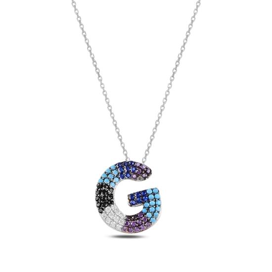 Ürün resmi: Rodyum Kaplama -G- Harfi Renkli Zirkon Taşlı Gümüş Bayan Hayalet Kolye