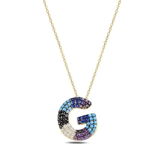 Ürün resmi: Altın Kaplama -G- Harfi Renkli Zirkon Taşlı Gümüş Bayan Hayalet Kolye